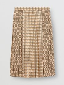 Burberry Contrast Graphic Print Pleated Skirt in L