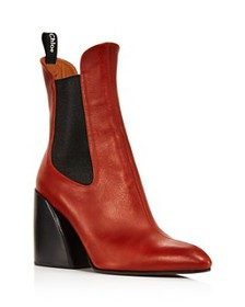 Chloé - Women's Wave Leather Block-Heel Ankle Boot