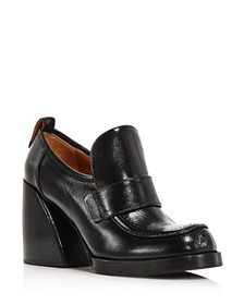 Chloé - Women's Adelie Leather Block-Heel Loafers