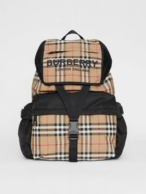 Burberry Logo Print Vintage Check Backpack in Arch