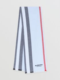 Burberry Icon Stripe Wool Cashmere Scarf in Pale B