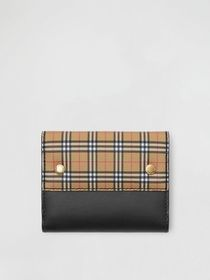 Burberry Small Scale Check and Leather Folding Wal