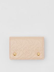 Burberry Monogram Leather Card Case in Rose Beige