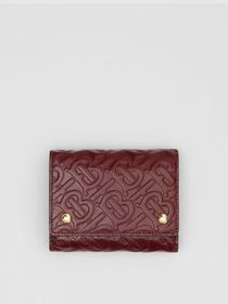 Burberry Small Monogram Leather Folding Wallet in