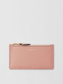 Burberry Two-tone Leather Zip Card Case in Ash Ros