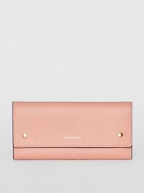 Burberry Leather Continental Wallet in Ash Rose
