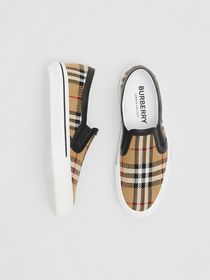 Burberry Vintage Check and Leather Slip-on Sneaker