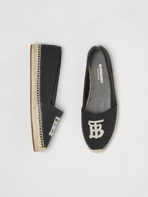 Burberry Monogram Motif Cotton and Leather Espadri
