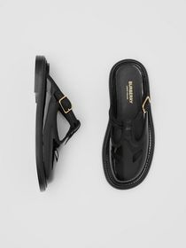 Burberry Patent Leather T-bar Mules in Black