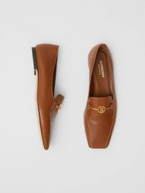 Burberry Monogram Motif Leather Loafers in Tan