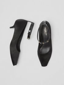 Burberry Satin Peep-toe Kitten-heel Pumps in Black