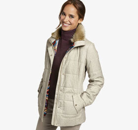 Johnston Murphy Quilted Jacket with Faux-Fur Colla