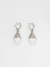 Burberry Palladium-plated Faux Pearl Charm Earring