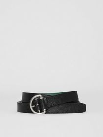 Burberry Grainy Leather D-ring Belt in Black/sea G