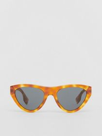 Burberry Triangular Frame Sunglasses in Amber Tort