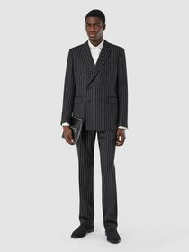 Burberry English Fit Pinstriped Wool Suit in Black