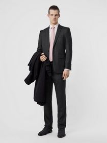 Burberry English Fit Pinstriped Wool Suit in Mid G