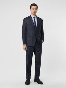 Burberry Slim Fit Wool Silk Linen Suit in Dark Nav