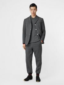 Burberry Stripe Detail Stretch Wool Neoprene Tailo