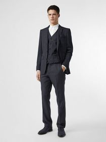 Burberry Pinstriped Wool Waistcoat in Dark Navy/wh