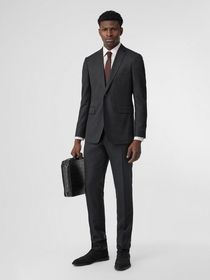 Burberry Slim Fit Wool Silk Linen Suit in Dark Gre