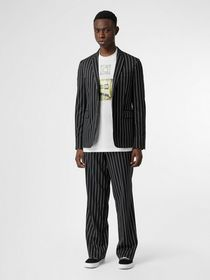 Burberry Slim Fit Press-stud Pinstriped Wool Tailo