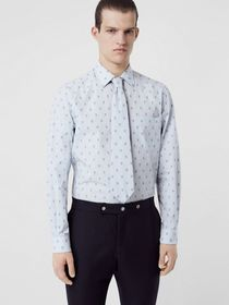 Burberry Fil Coupé Monogram Cotton Shirt and Tie T