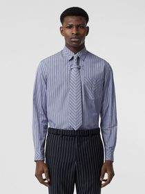 Burberry Chevron Striped Cotton Shirt and Tie Twin