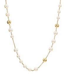 """Tory Burch - Logo Rosary Necklace, 37"""""""