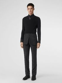 Burberry Tailored Panel Rib Knit Silk Blend Sweate
