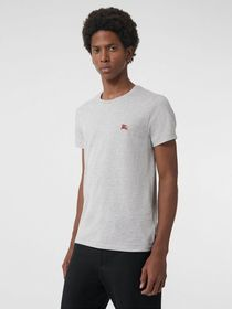 Burberry Cotton Jersey T-shirt in Pale Grey Melang