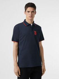 Burberry Monogram Motif Tipped Cotton Piqué Polo S