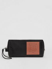Burberry Leather Monogram Motif Travel Pouch in Bl
