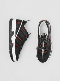 Burberry Mesh and Nubuck Union Sneakers in Black/r