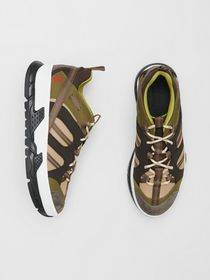 Burberry Mesh and Suede Union Sneakers in Khaki /
