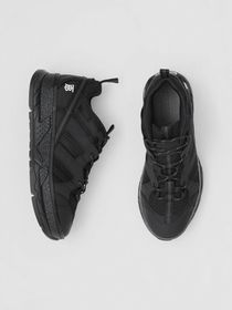 Burberry Mesh and Nubuck Union Sneakers in Black