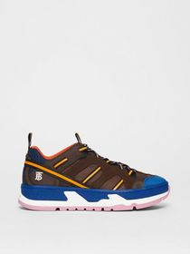 Burberry Nylon and Mesh Union Sneakers in Coffee/b