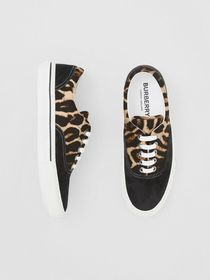 Burberry Leopard Print Nylon and Suede Sneakers in