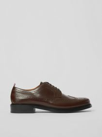 Burberry Brogue Detail Leather Derby Shoes in Tan