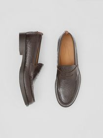 Burberry D-ring Detail Monogram Leather Loafers in