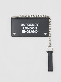 Burberry Logo Print Leather Wallet with Detachable