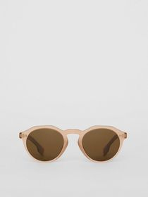 Burberry Keyhole Round Frame Sunglasses in Brown