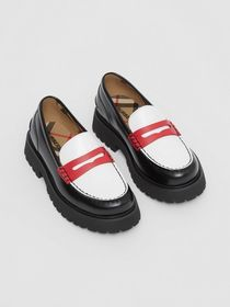 Burberry Tri-tone Leather Loafers in Optic White/r