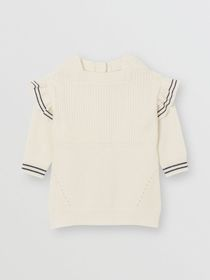 Burberry Ruffle Detail Contrast Knit Wool Cashmere