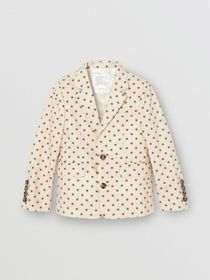 Burberry Star Print Cotton Blazer in Military Red