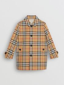 Burberry Vintage Check Cotton Car Coat in Antique