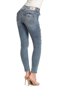 True Religion Halle Flap Pocket Distressed Skinny