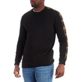 DENIM & FLOWER Mens Fleece Sweatshirt With Camo Ta