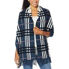 """""""As Is"""" Colleen Lopez Reversible Plaid Knit Topper"""
