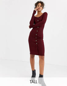 Brave Soul Tall button through midi dress in rib
